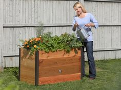 Wooden Elevated Garden Bed Gardener's Supply   Free Shipping