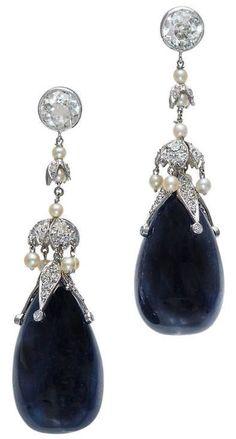 Belle Époque Sapphire & Diamond Earrings