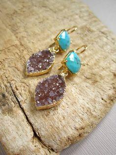 Turquoise Druzy Earrings Druzy Quartz Leaf Drops Gold Vermeil