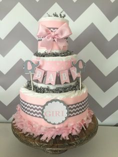 Elephant Diaper Cake in Pink and Grey Elephant Baby Shower Centerpiece Chevron Decorations - Oaklyn Baby Name - Ideas of Oaklyn Baby Name - Elephant Diaper Cake in Pink and Grey Elephant Baby Shower Centerpiece Chevron Decorations Unique Baby Shower Cakes, Baby Shower Cake Designs, Elephant Baby Shower Centerpieces, Baby Shower Cupcakes For Girls, Baby Shower Parties, Baby Shower Gifts, Chevron Rosa, Elephant Diaper Cakes, Diaper Cake Centerpieces