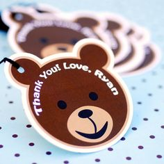 Custom Die Cut Teddy Bear Party Favor Tags  by prettypaperparty, $7.00