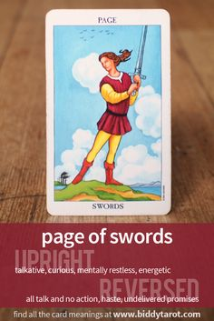 Page of Swords #tarotcardmeaning learn more at https://www.biddytarot.com/tarot-card-meanings/minor-arcana/suit-of-swords/page-of-swords/
