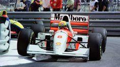 Recordando al legendario Ayrton Senna en el 21º aniversario de su fallecimiento, la foto es de la ultima de sus 6 victorias en Monaco en 1993 con el Mclaren-Ford MP4/8