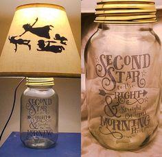 Peter Pan Silhouette Mason Jar Lamp by PracPerfCrafts on Etsy Adorable Peter Pan lamp from Practically Perfect Crafts on etsy. Peter Pan Silhouette, Disney Dorm, Deco Disney, Disney Nursery, Disney Lamp, Disney Playroom, Disney House, Mason Jar Crafts, Mason Jar Lamp