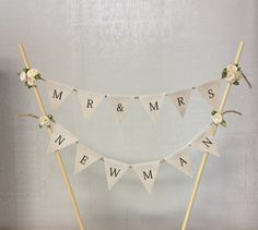 Custom Wedding Cake Topper Bunting Flags by TheLovelyNestShop