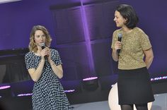 FEO12 Marie-Amélie Le Fur, femme en or élue aussi par le public (internautes) avec Isabelle Giordano, journaliste