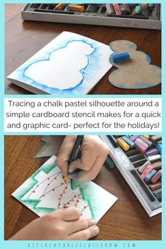 Diy christmas cards 775674735797869877 - Try this chalk pastel technique to make a snowman drawing the easy way! This idea is a quick holiday project perfect for making Christmas cards and more! Source by mmoravova Christmas Art Projects, Easy Art Projects, Christmas Crafts For Kids, Holiday Crafts, Christmas Diy, Christmas Decorations, Simple Christmas Cards, Homemade Christmas Cards, School Christmas Cards