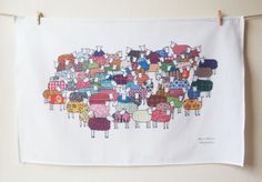 Colourful Sheep Tea Towel by marykilvert on Etsy, £12.00
