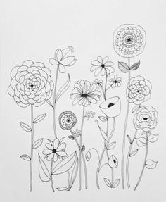 Embroidery Pattern of Basic Line Drawing  B&W version, by Lisa Congdon go to  Creativebug.com. This link is Broken.  jwt