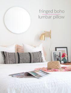 Fringed Boho Lumbar Pillow DIY Made from a Table Runner | Francois et Moi