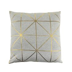 Breathe new life into existing interiors with this Diagonal Print cushion from Bloomingville. Featuring contrasting elements of solid gold against a simple grey background, it boasts stylish metallic