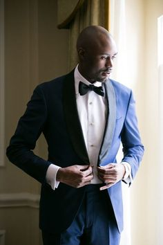 navy blue shawl lapel tuxedo Nicholas Joseph Custom Tailors