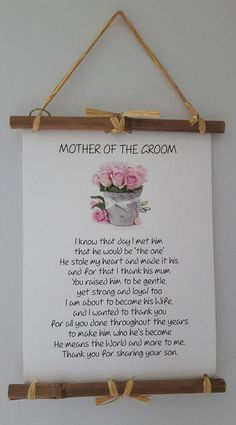 Mother of Groom Gift Present From Bride I Knew The Day roses Wedding Poem Thank You Art Print Wedding keepsake special day #weddingplanning Wedding Gift Poem, Wedding Day Quotes, Wedding Gifts For Bride And Groom, Wedding Gifts For Parents, Mother Of The Groom Gifts, Wedding Day Gifts, Wedding Favors Cheap, Wedding Keepsakes, Bride Gifts