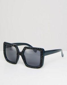 ASOS Full Metal Glitter Oversized Square Sunglasses