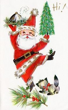 """A very merry """"hi"""" from Santa Claus! #vintage #Christmas #cards"""