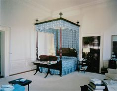 JFK's bedroom in 1962 with the four-poster bed used by other presidents, looking northeast (Kennedy Library)