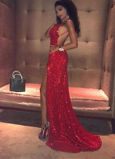 New Arrival Spaghetti Straps Bling Red Prom Dress,2018 Prom Dresses Long Sexy Sequins Mermaid Backless Prom Gown H0051