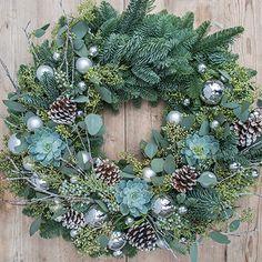Roger's Christmas Wreath - Unnecessary Christmas Greenery, Christmas Swags, Xmas Wreaths, Christmas Diy, Christmas And New Year, Christmas Themes, White Christmas, Holiday Decor, Advent