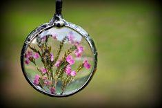 Pink Heather Necklace / Dried Flower Jewelry / by BayouGlassArts