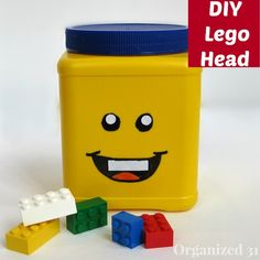 DIY Repurposed Can Lego Head~ cornstarch canister!