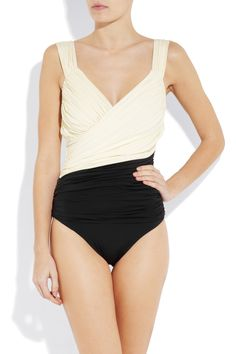 CLUBE BOSSA  Couture two-tone ruched swimsuit  Front View