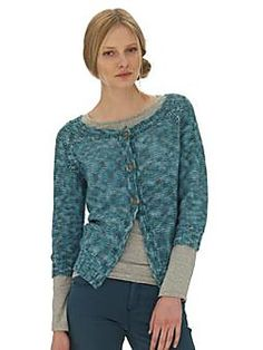 Knit this women's reverse stocking stitch cropped cardigan which is the members exclusive free pattern for June 2012. A design by Sarah Hatton using the beautiful new yarn Summerspun, which is made up of 50% wool and 50% cotton, this simple cardigan has a round neck and raglan shaping which makes this pattern suitable for the knitter with little experience.