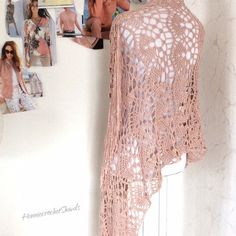 Knitted Poncho, Crochet Shawl, Crochet Lace, Bridal Shawl, Wedding Shawl, Pink Shawl, Crochet Wedding, Lace Scarf, Capelet