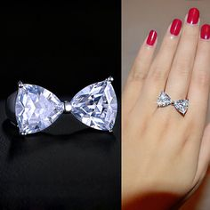 Bow Cubic Zirconia Ring Bow Tie Diamond Triangle Ring Bow Knot Crystal Ring Fashion Delicate Party Prom Gift Cute Dainty Lovely, by AmodeJewelry on Etsy Cute Jewelry, Modern Jewelry, Bridal Jewelry, Jewelry Accessories, Unique Jewelry, Cute Rings, Pretty Rings, Beautiful Rings, Triangle Ring