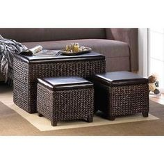 Besides the fireplace, the focal point of a living room is the coffee table. This type of living room tables … Coffee Table Toy Box, Footstool Coffee Table, Wicker Coffee Table, Ottoman Table, Coffee Table With Storage, Coffee Tables, Wicker Trunk, Ottoman In Living Room, Living Room Storage