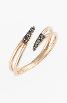 Free shipping and returns on kismet by milka 'Lumiere' Diamond Midi Ring at Nordstrom.com. A dash of brilliant black diamonds deepen a polished rose-gold ring designed with a delicately split and pointed shape.