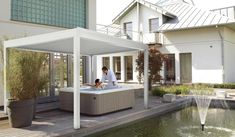 outdoor living pod with roller blinds for jacuzzi Outdoor Living, Outdoor Decor, Roller Blinds, Jacuzzi, Spa, Relax, Pergola, Website, Home Decor