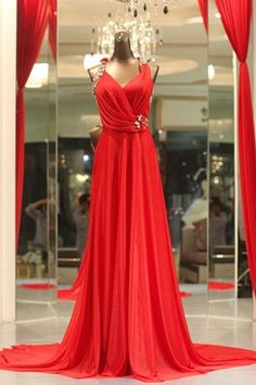 Custom Made Red Halter Strap Prom Dress,Evening Dress,Formal Dress With Beads on Etsy, $189.00