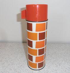 checks in orange  and brown...vintage aladdin thermos