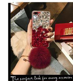 Diamond Gradient Color Plush Ball Phone Case – Phone case for girls Iphone Cases Bling, Girly Phone Cases, Ipod Touch Cases, Diy Phone Case, Phone Covers, Fluffy Phone Cases, Macbook Case, Coque Iphone, Iphone Accessories