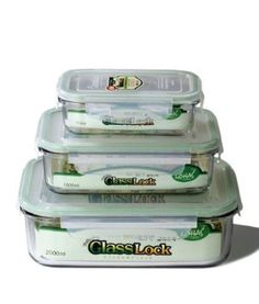 Amazon.com: Kinetic GlassLock Series 1317 Rectangular Glass Food-Storage Containers with Locking Lids, Set of 3: Home & Kitchen