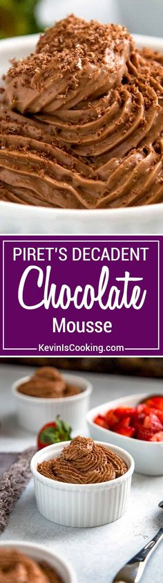 Piret's Chocolate Mousse is a classic French dessert made with melted chocolate, eggs and whipping cream that I learned to make at Piret's in San Diego.  via @keviniscooking