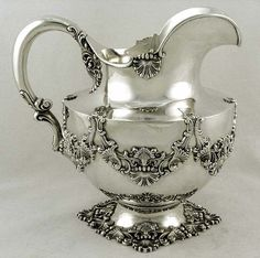 Dominick & Haff sterling silver large pitcher with shell and cornucopia motifs, c1896 (supershrink)