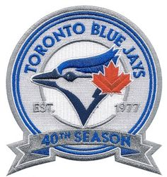 The Toronto Blue Jays will wear a patch on their uniform sleeve throughout the 2016 season to commemorate their season in the American League. Toronto's cap/alternate logo is the centrepiece of the patch, which is a roundel with a […] Mlb Team Logos, Mlb Teams, Sports Teams, Sports Logo, Carolina Panthers Wallpaper, Toronto Blue Jays Logo, Anniversary Logo, American League, Baseball