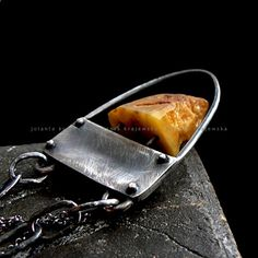 Statement Silver Pendant With Amber - product images  of