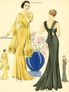 NYPL Digital Print Gallery is FULL of incredible Fashion Plates! Great place for costume inspiration! 1930s Fashion, Art Deco Fashion, Retro Fashion, Vintage Fashion, Parisian Fashion, French Fashion, Victorian Fashion, Ladies Fashion, Dress Fashion