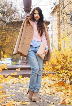 @roressclothes closet ideas #women fashion Beige Coat and Booties Outfit for Fall