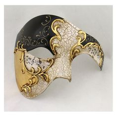 Black Gold Half Men Face Mask Musical Venetian Masquerade Mask Phantom Vintage Design is perfect for Masquerade, Mardi Gras, Wedding, Prom, and Costume Party!  ** The mask is secured to the face with two satin ribbons ties on both sides of the mask.**  -- One Size fits most, Light weight. -- Hand Painted, Venice style, using the high quality plastic and Eco-friendly materials    =====================================================  We Ship FAST! Ship Worldwide! 100% Satisfaction Guaranteed…