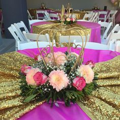 Princess Claudeth Birthday Party  Crown Center Piece #quinceanerapartycenterpieces