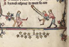 Playing on a swing in Oxford, Bodleian Library MS Bodley 264 (Alexanderroman, ca. 1340)