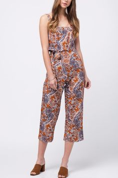 Printed Jumpsuit with cropped length leg Printed Jumpsuit With Belt by Movint. Crop Image, First Day Of Summer, Printed Jumpsuit, Printed Linen, Belt, Jumpsuits, Prints, Rompers, California