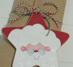 Hand Painted Traditional Santa Claus Wooden Christmas Tree Decoration or Personalised Gift Tag
