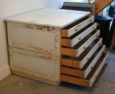Painted 6 Drawer Oak Architect Plan Chest Size Ao