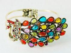 Golden Rainbow Crystal Rhinestone Peacock Bird Fashion Bracelet Bangle Cuff: Jewelry: Amazon.com