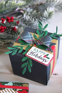 "Christmas packages by Kimberly Crawford with the ""Deck the Halls"" collection and designer dies by #EchoParkPaper"