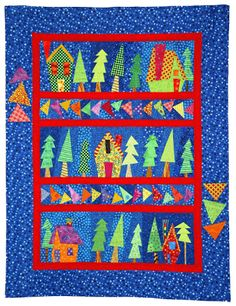 Quilt Inspiration: Wonky Houses and trees by Carol Morrissey